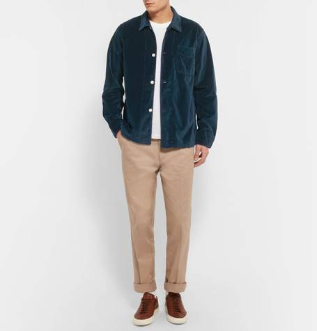 cotton velvet navy overshirt