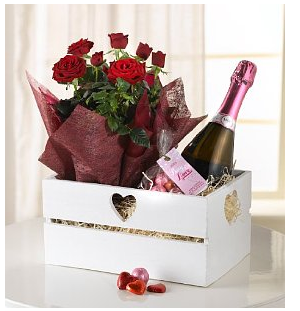 As always M&S have the answer to your prayers all wrapped up. Send that special someone an extra special Valentine's gift; this red rose hamper includes a magnificent pot of red Kordana roses, a bag of love heart chocolates and Italian sparkling rosé wine for an all-inclusive gift to someone you love.
