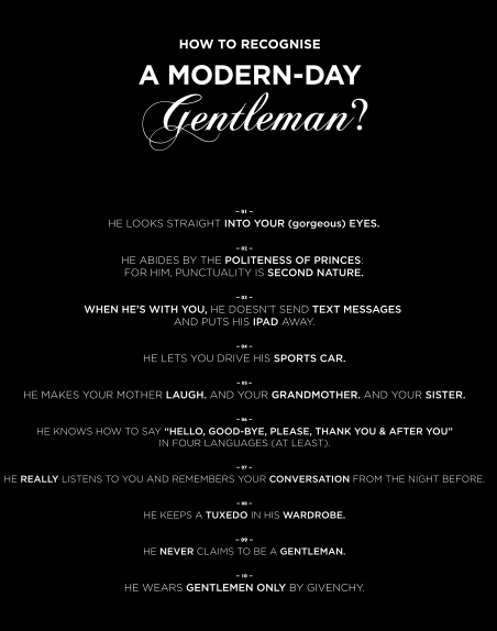 Givenchy's 10 ways to spot a modern day Gentleman, are you one ?