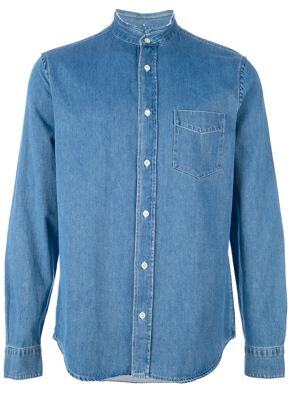 Denim shirts are a staple of mine, they're easy to wear and they maintain their shape. I really like this shirt because the mandarin collar makes it different from most.