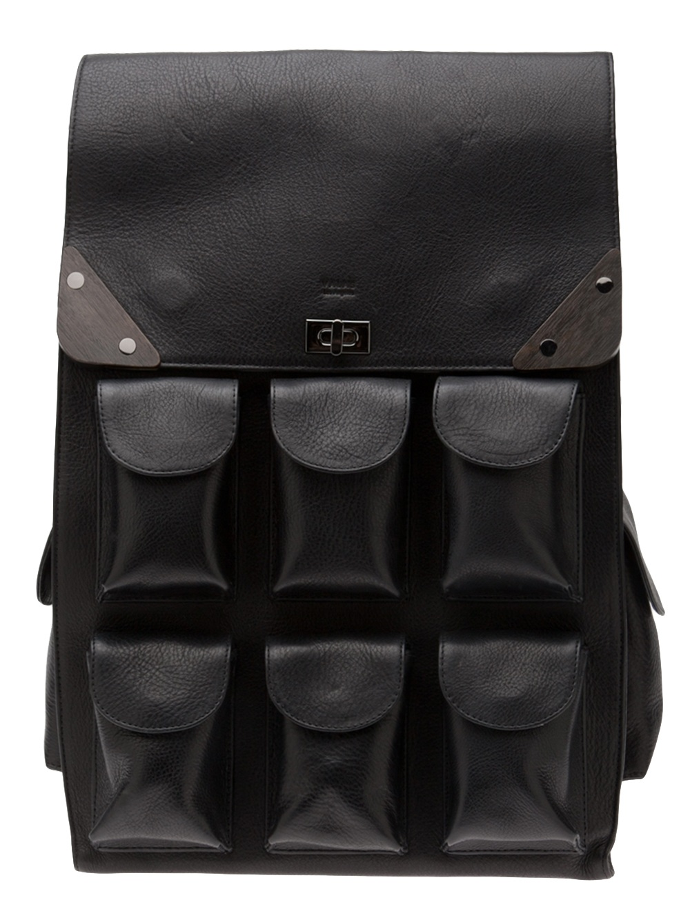 I cycle around London all the time, so I need my backpack to be practical. This black leather Valas looks amazing with the multiple pockets; it's great to throw over my shoulder and makes the ideal weekend bag