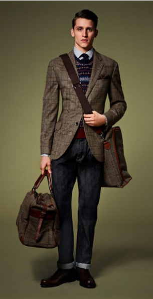 The Autumn is nearly upon us and work that weekend look with one of the biggest trends for the season a spot of tweed and some fair isle knitwear. Adding a white shirt makes the outfit stand out more.