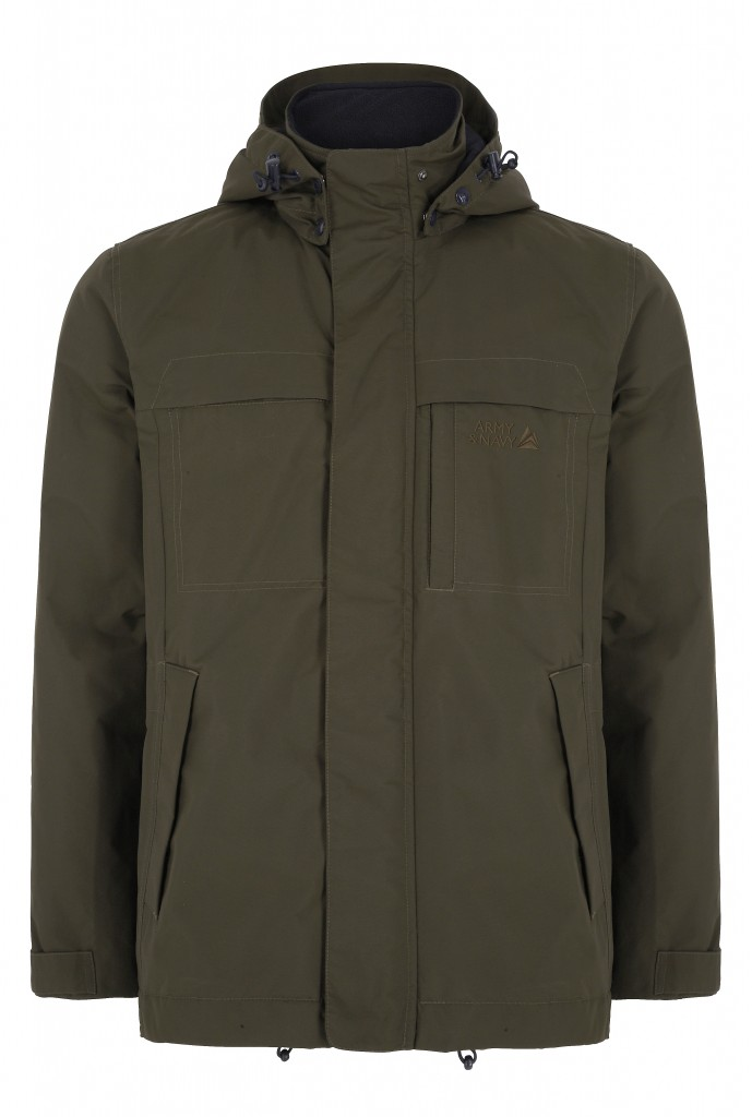 Khaki peakstorm coat, £120, Army & Navy at House of Fraser