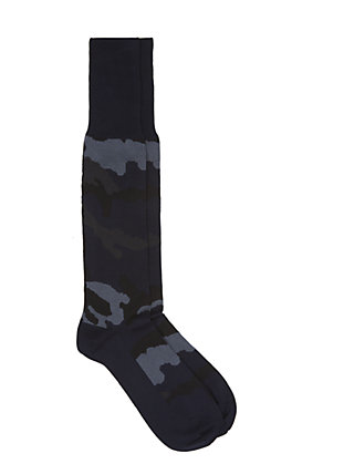 Valentino's camouflage collection has many stand out pieces but their socks are an affordable luxury item which add a touch of flair to your winter wardrobe.