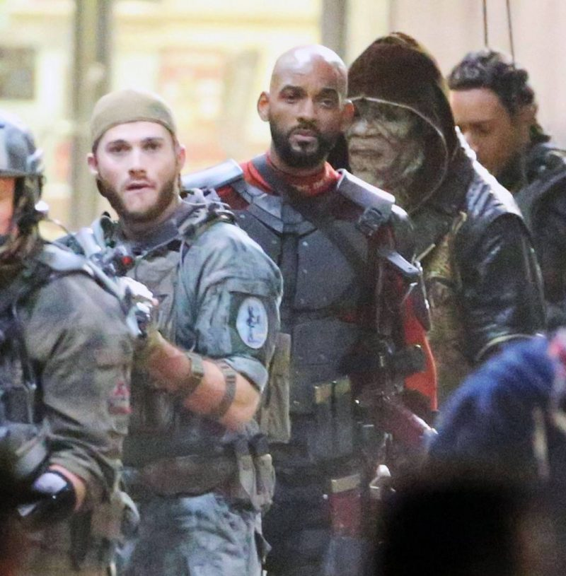 Eastwood with fellow Suicide Squad cast members Will Smith and an unrecognisable Adewale Akinnuoye-Agbaje